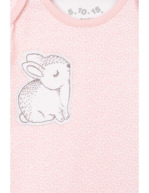 Body różowe z długim rękawem i królikiem