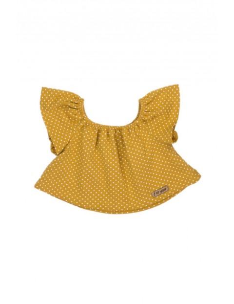 Koszulka dziewczęca typu top w musztardowym kolorze