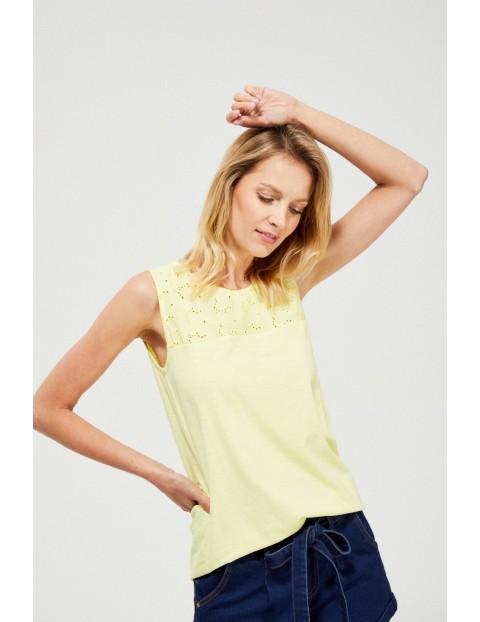 Żółty top na szerokich ramiączkach z koronkową górą