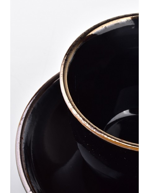 CAL BLACK Filiżanka porcelanowa ze spodkiem 280ml
