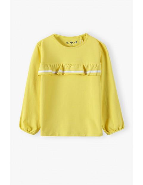 Żółta bluzka dziewczęca z ozdobną falbanką