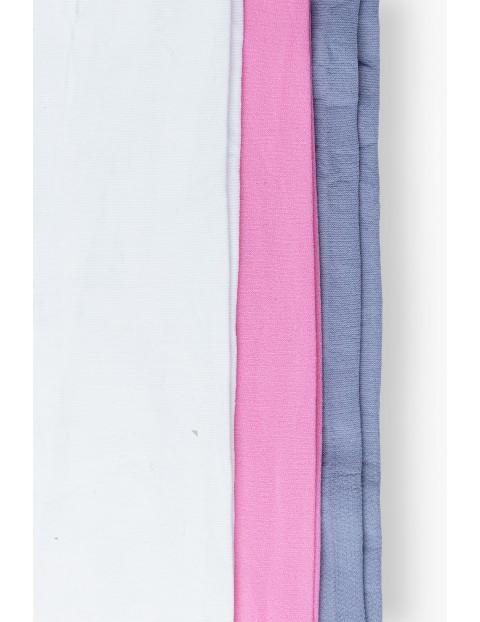 Rajstopy dziewczęce szare kremowe różowe 3-pak