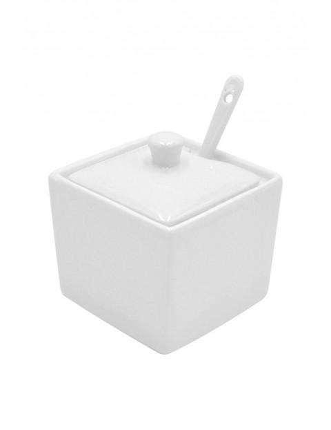 Cukiernica porcelanowa z pokrywką i łyżeczką