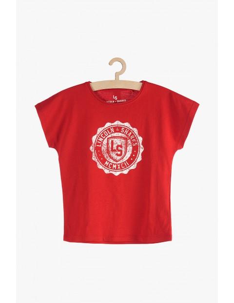 T-Shirt dziewczęcy czerwony z nadrukiem