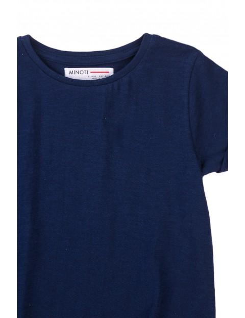 T-shirt dziewczęcy klasyczny granatowy