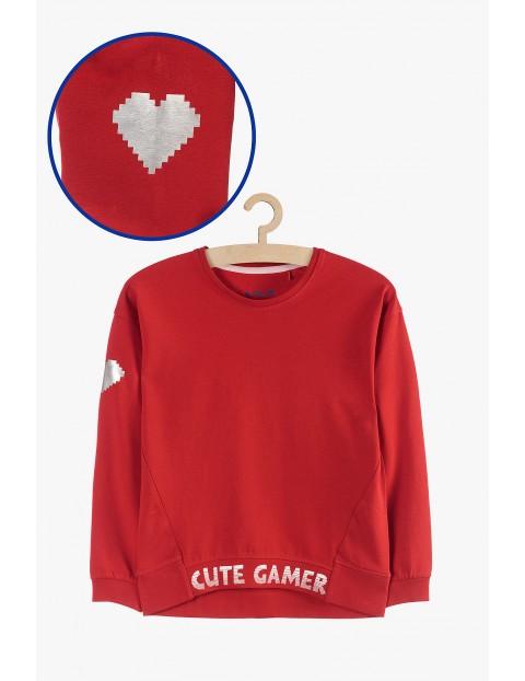 Cienka bluza dresowa dla dziewczynki - czerwona