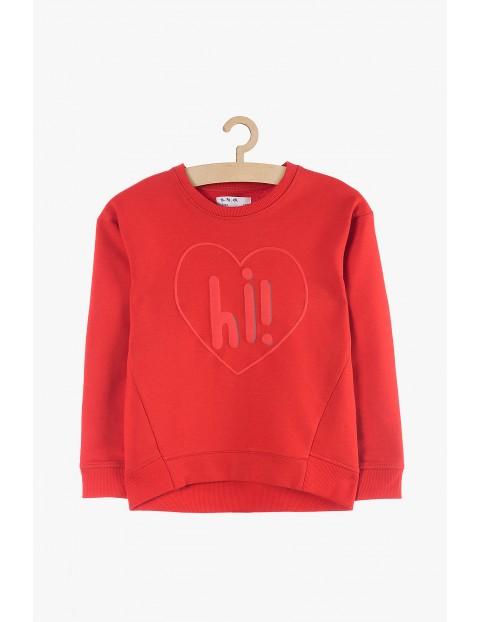 Bluza dresowa dla dziewczynki czerwona-z sercem