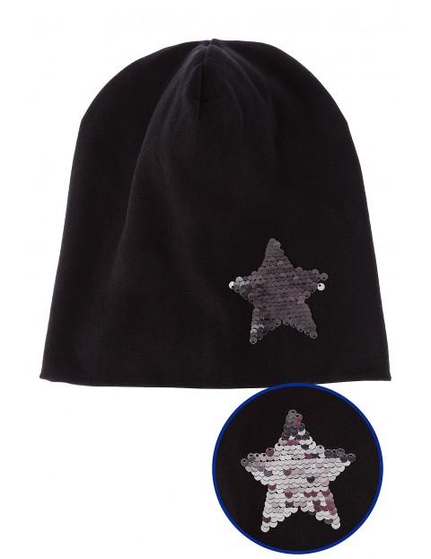 Czapka dzianinowa czarna z cekinową gwiazdką