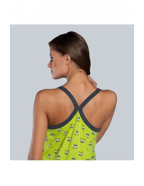 Limonkowa koszula nocna we wzorki na cienkie ramiączka