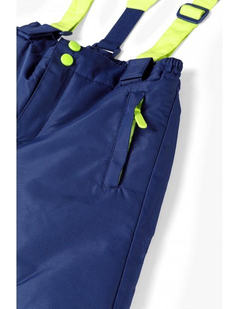 Spodnie narciarskie chłopięce z odpinanymi szelkami