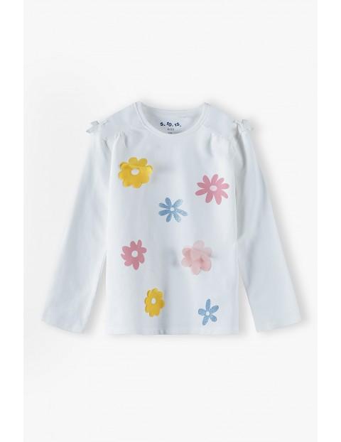 Bluzka dziewczęca na długi rękaw w kolorowe kwiatki - ecru