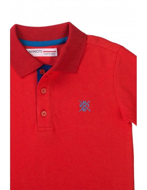 Bawełniany T-shirt niemowlęcy z kołnierzykiem- czerwony