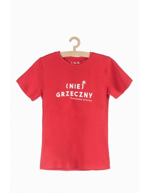 Czerwony t-shirt z napisem (nie) grzeczny