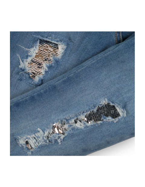Spodnie dziewczęce jeansowe z cekinowymi łatami