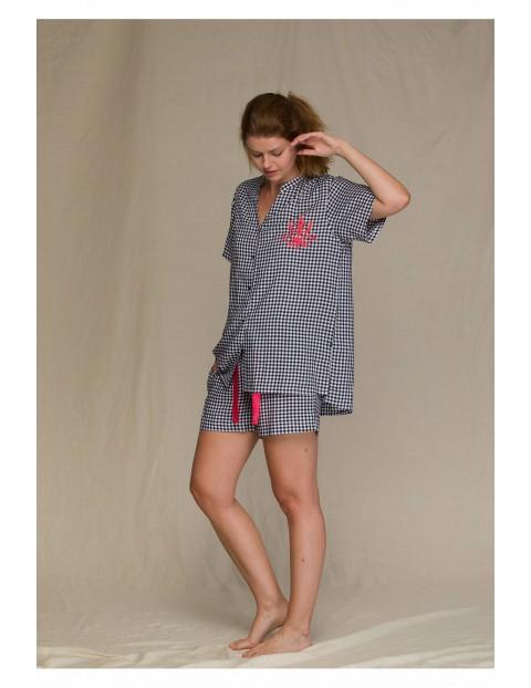 Krótka kraciasta piżama damska