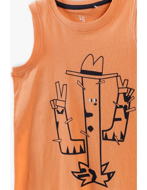 T-shirt chłopięcy w kolorze pomarańczowym z kaktusem