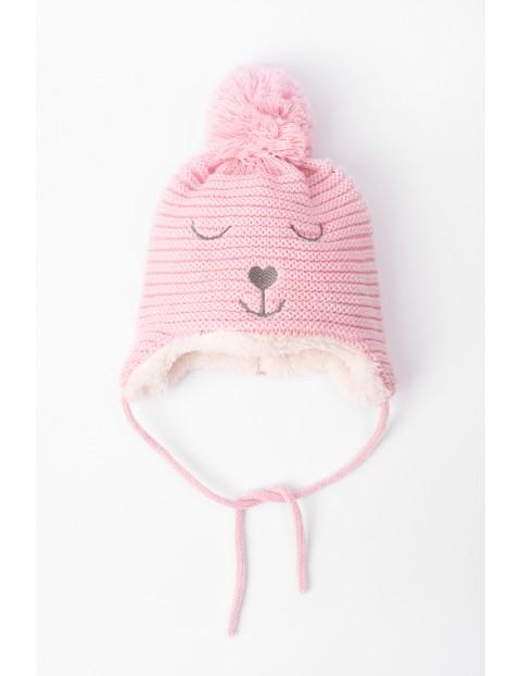 Ciepła czapka dla niemowlaka- różowa wiązana