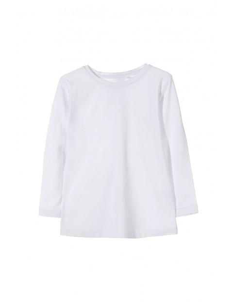 Bluzka dziewczęca biała z długim rękawem-basic