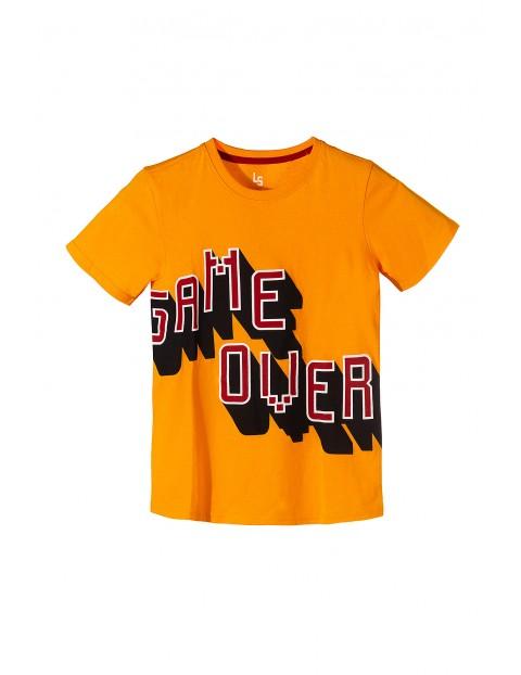 Pomarańczowy t-shirt dla chłopca- game over