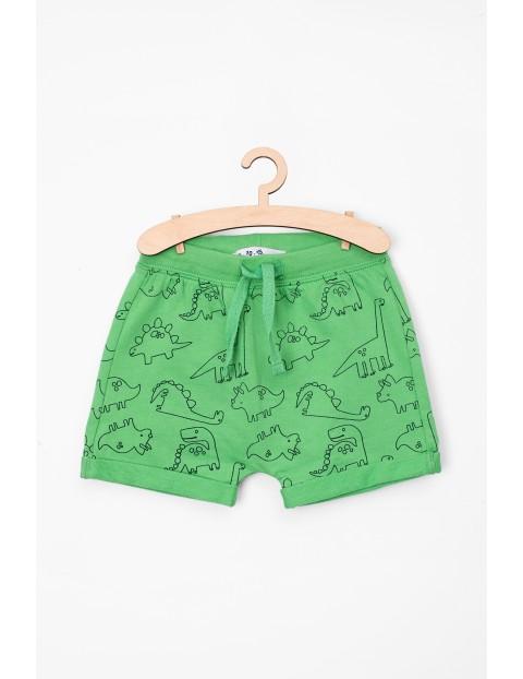 Szorty niemowlęce zielone w dinozaury- 100% bawełna