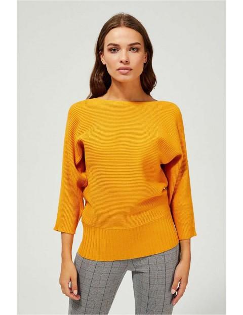 Sweter damski - 7/8 rękaw - musztardowy w poziome prążki