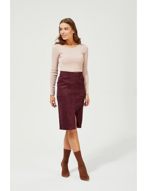 Spódnica damska ołówkowa w kolorze burgund