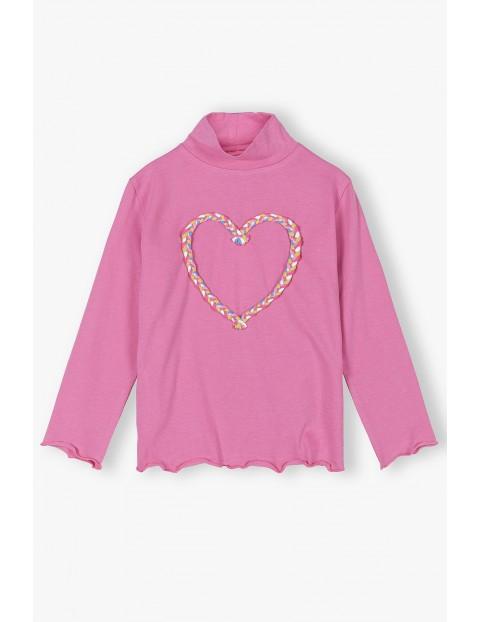 Różowa bluzka dziewczęca  z serduszkiem