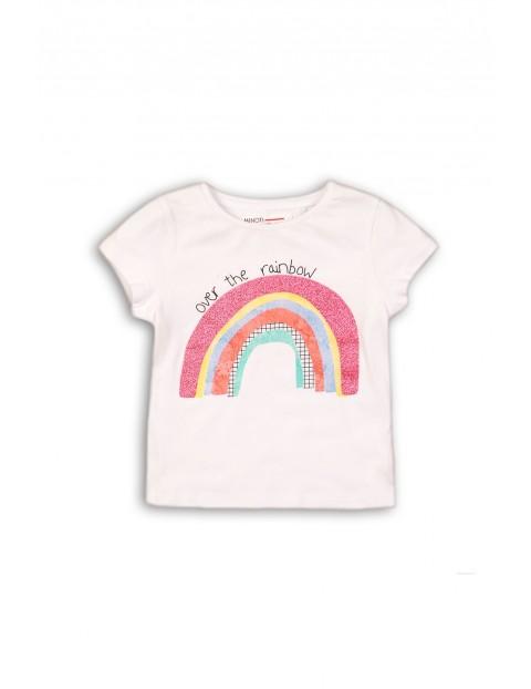 Biały t-shirt dla niemowlaka z tęczą