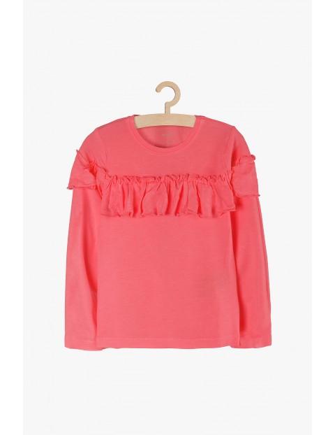 Bluzka dziewczęca różowa z falbanką