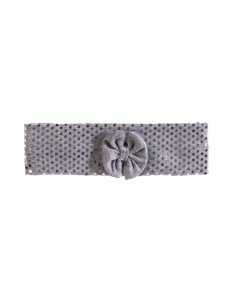 Dzianinowa opaska na głowę dla dziewczynki- szara w srebrne kropki