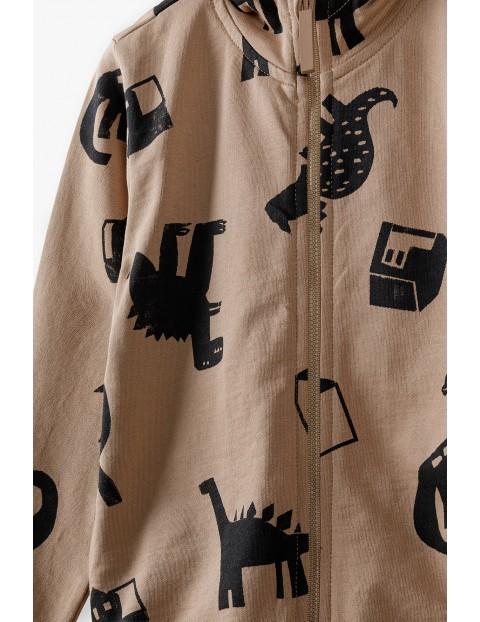 Bluza dresowa chłopięca z kapturem-brązowa w Dinozaury