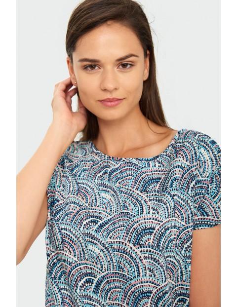 Niebieski T-shirt damski na krótki rękaw z nadrukiem