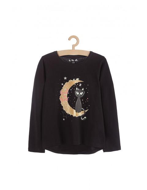 Bluzka dziewczęca czarna z kotem