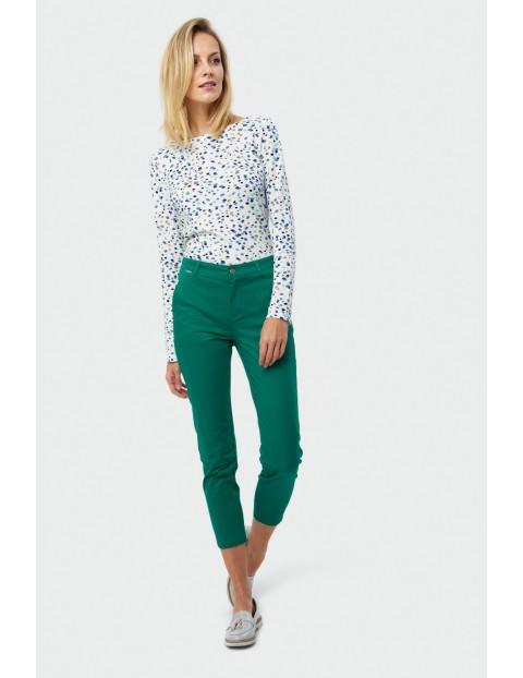 Zielone bawełniane dopasowane spodnie damskie