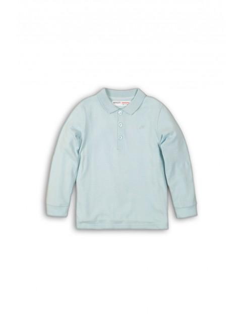 Bluzka chłopięca niebieska z kolnierzykiem