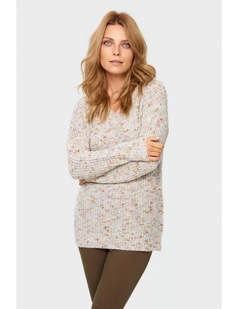 Sweter damski - beżowy