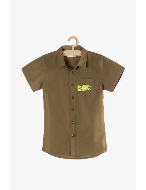 """Koszula chłopięca rozpinana brązowa """"Chillax"""""""