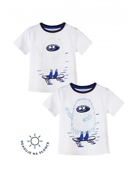T-shirt chłopięcy- zmienia nadruk pod wpływem promieni słonecznych