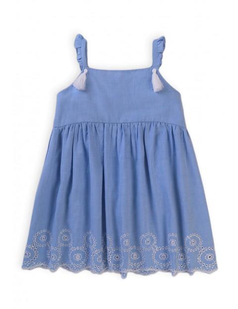 Bawełniana sukienka dziewczęca z ozdobnym haftowanym wzorem