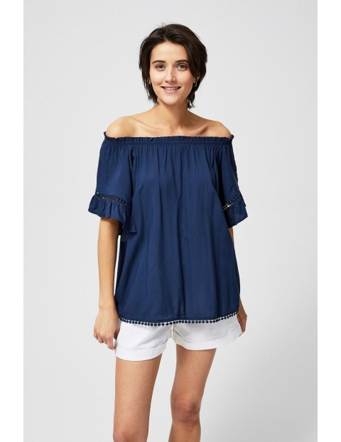 Bluzka damska koszulowa typu hiszpanka granatowa