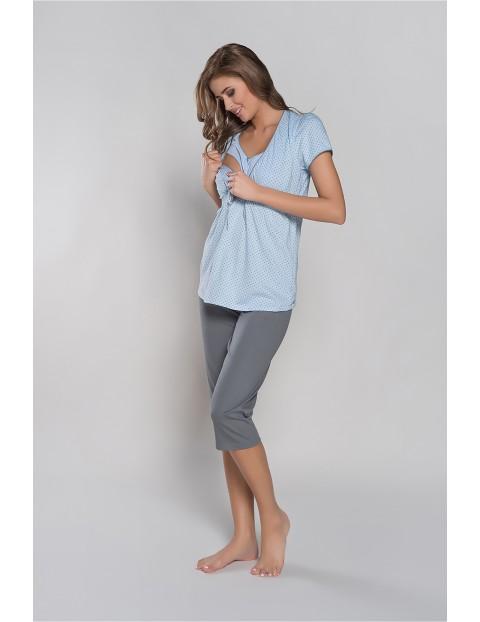 Piżama damska dla karmiącej mamy FELICITA krój 3/4 z kokardką