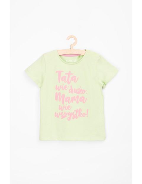 Koszulka dziewczęca z polskim napisem- Tata wie dużo....