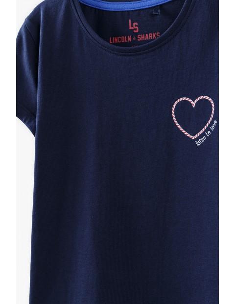 T-shirt dziewczęcy z serduszkiem - granatowy