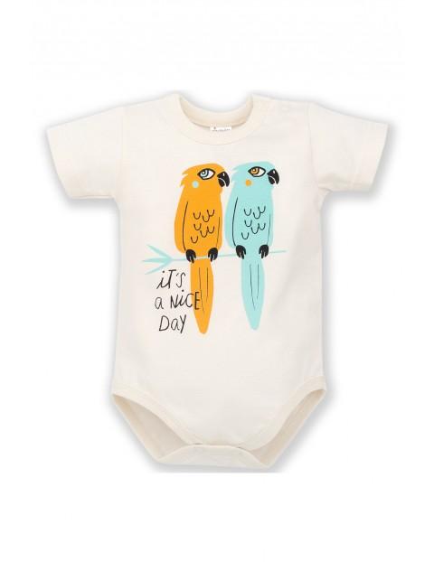 Body niemowlęce ecru z nadrukiem