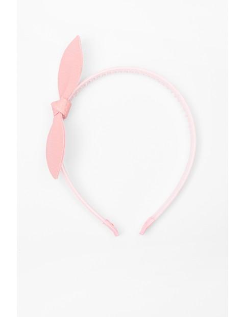 Opaska do włosów różowa z kokardką