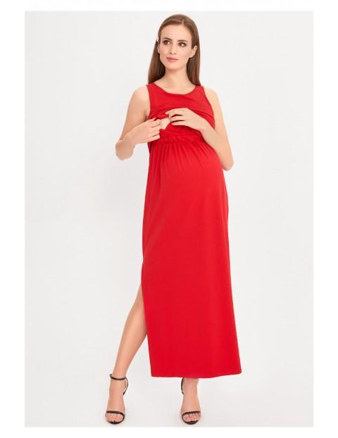 Czerwona sukienka ciążowa i dla karmiącej Maxi
