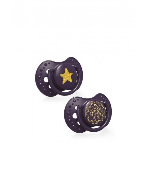 LOVI Smoczek silikonowy dynamiczny Stardust - fioletowy 0-3m 2 szt
