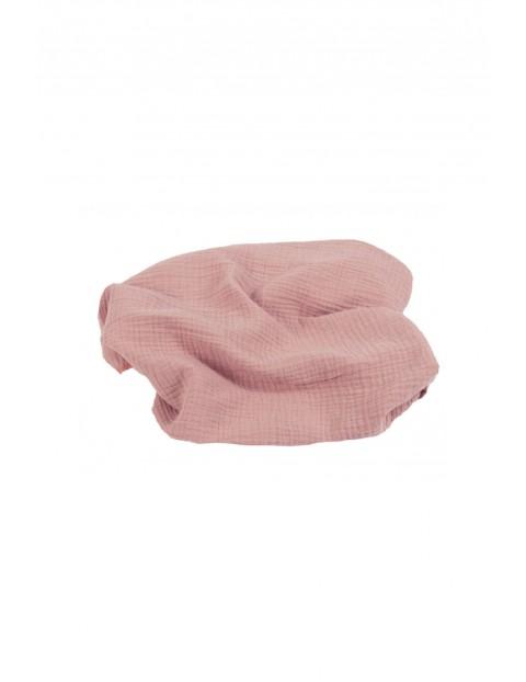 Otulacz bawełniany muślinowy 80x120 cm - różowy