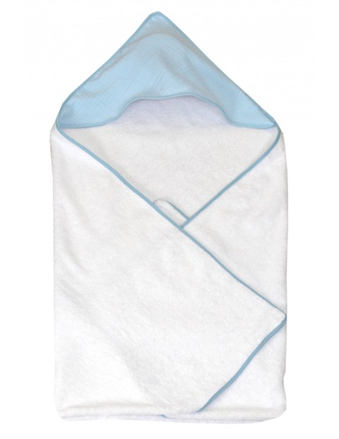 Okrycie kąpielowe dla dziecka 75x75cm - biało-niebieskie