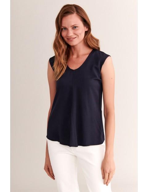 Elegancka bluzka bez rękawów - granatowa - rozmiar S